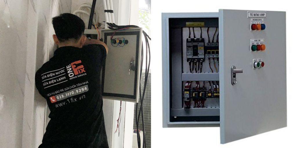 Thực hiện thao tác lắp đặt tủ điện 3 pha gia đình lên tường