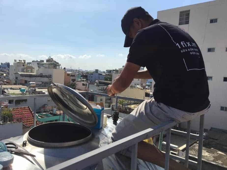 Cách lắp đặt bồn nước trên cao